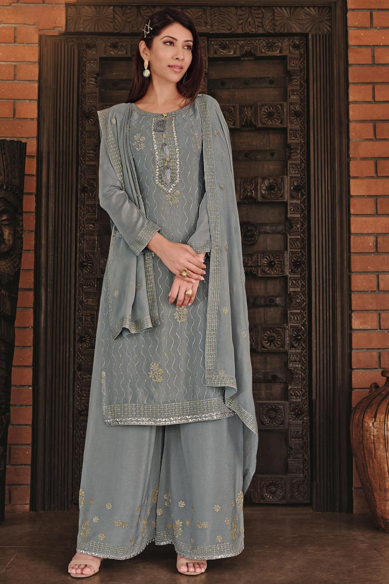 Chinon Fabric Festive Wear Grey Color Chic Embroidered Palazzo Suit