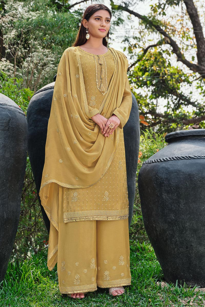 Festive Wear Yellow Color Chic Chinon Fabric Embroidered Palazzo Suit