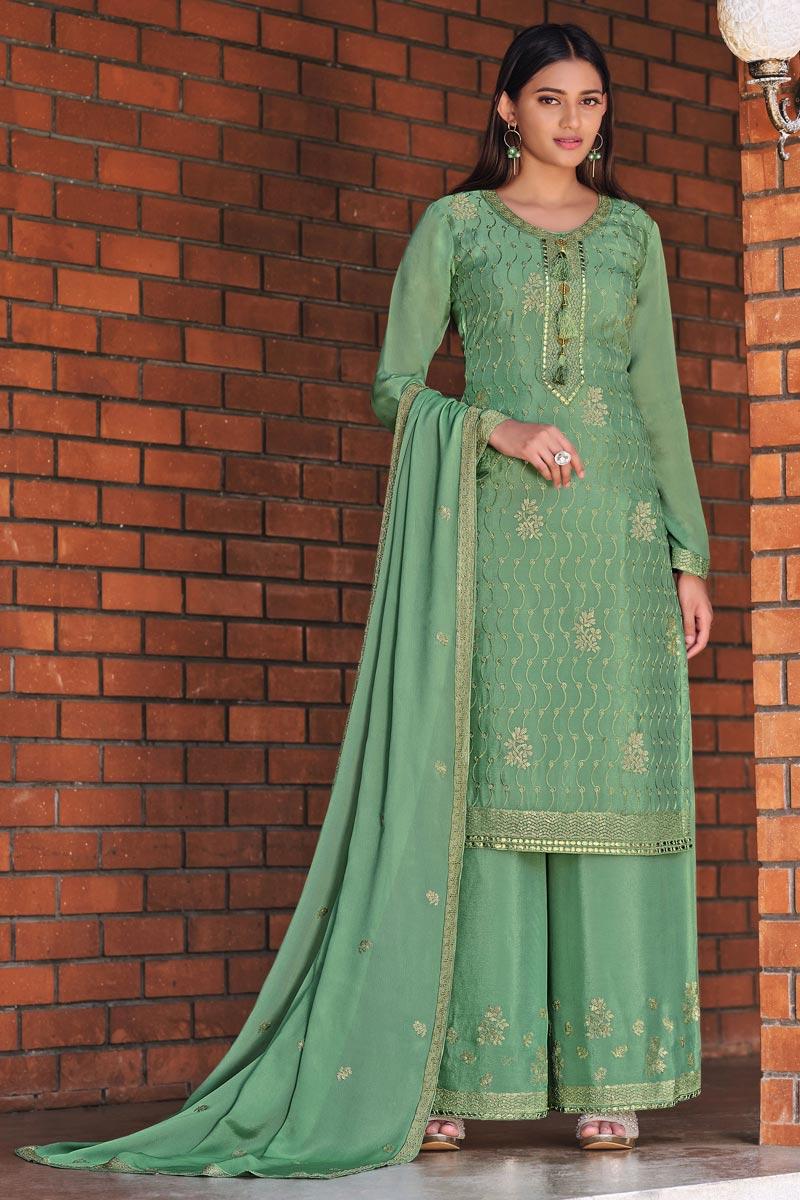 Chinon Fabric Festive Wear Chic Embroidered Palazzo Suit In Sea Green Color