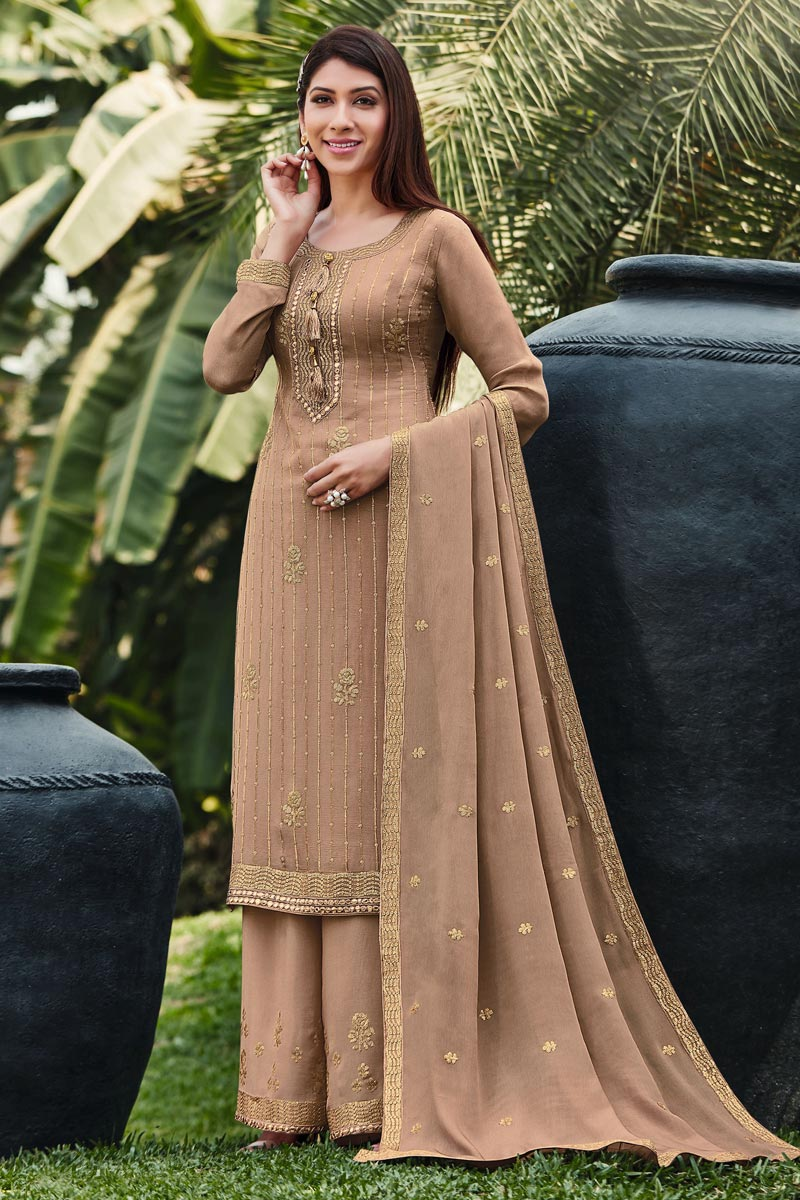 Chic Festive Wear Chikoo Color Embroidered Palazzo Suit In Chinon Fabric