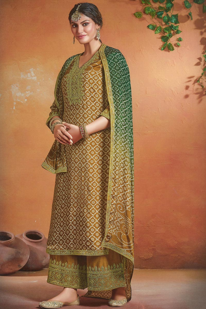 Mustard Color Function Wear Embroidered Art Silk Fabric Palazzo Dress