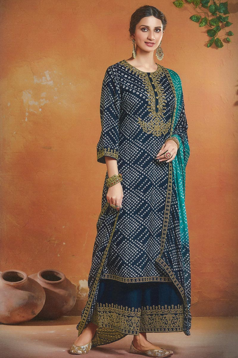 Art Silk Fabric Festive Wear Navy Blue Color Embroidered Palazzo Suit