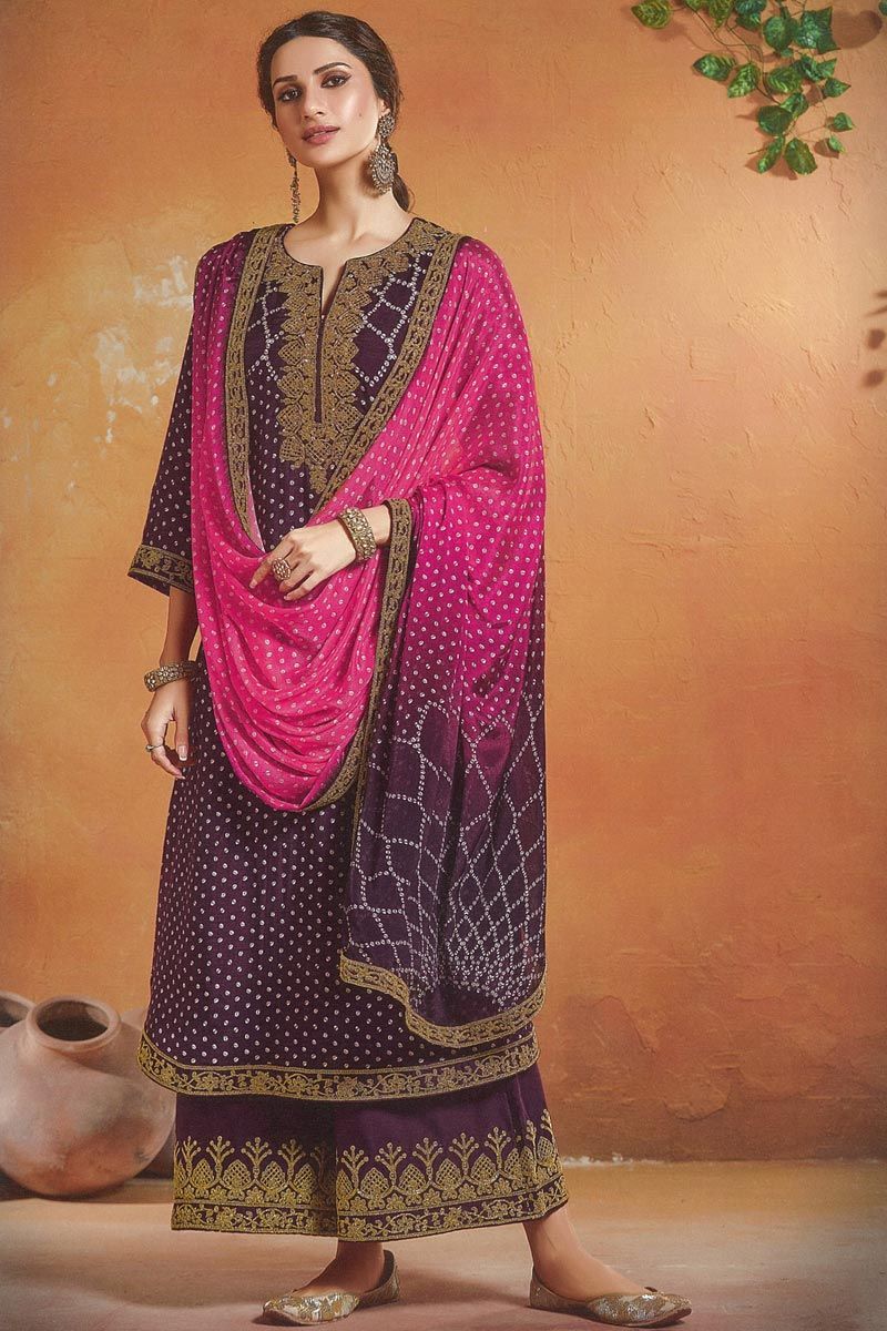 Art Silk Fabric Festive Wear Embroidered Palazzo Dress In Purple Color