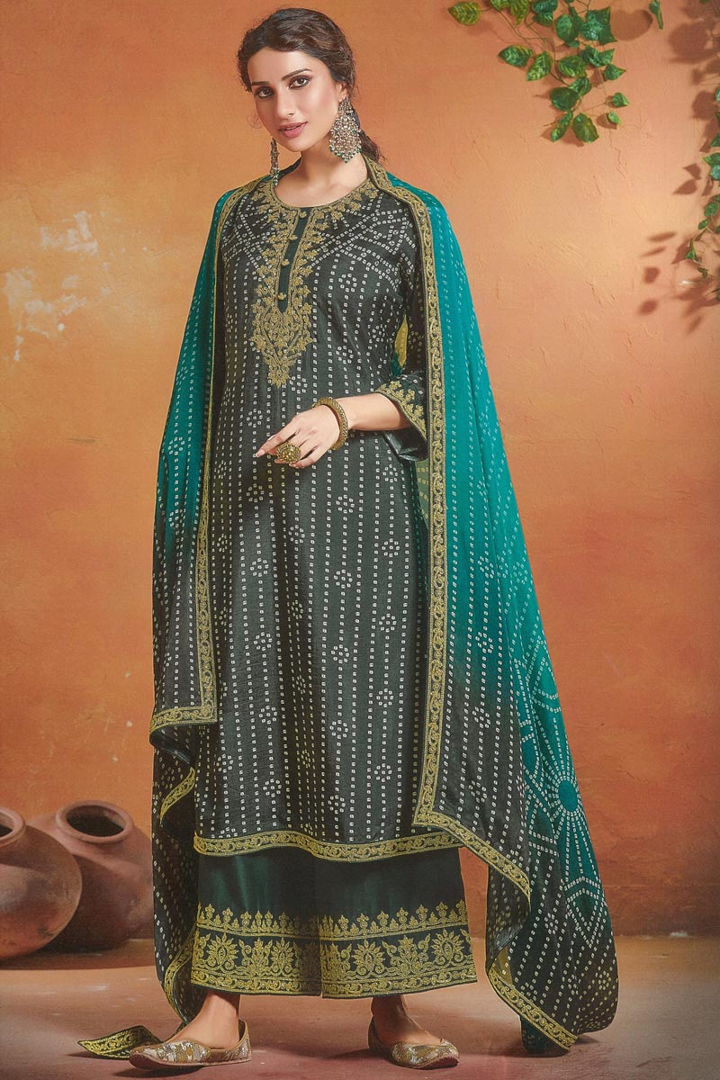 Art Silk Fabric Function Wear Embroidered Grey Color Palazzo Dress