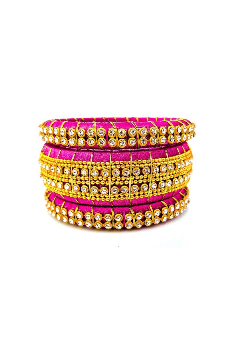 Handmade Customizable Silk Thread Bangles Set In Rani Color