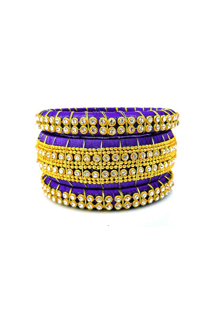 Purple Customizable Handmade Bangles Set In Silk Thread