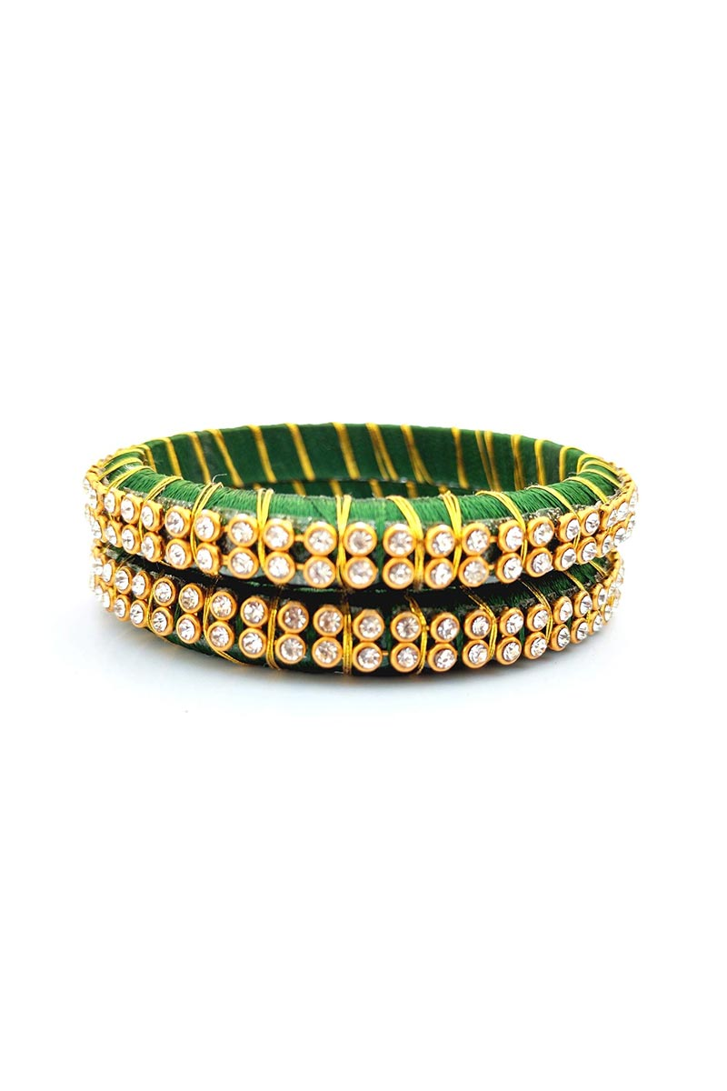 Customized Dark Green Silk Thread Handmade Bangles Set