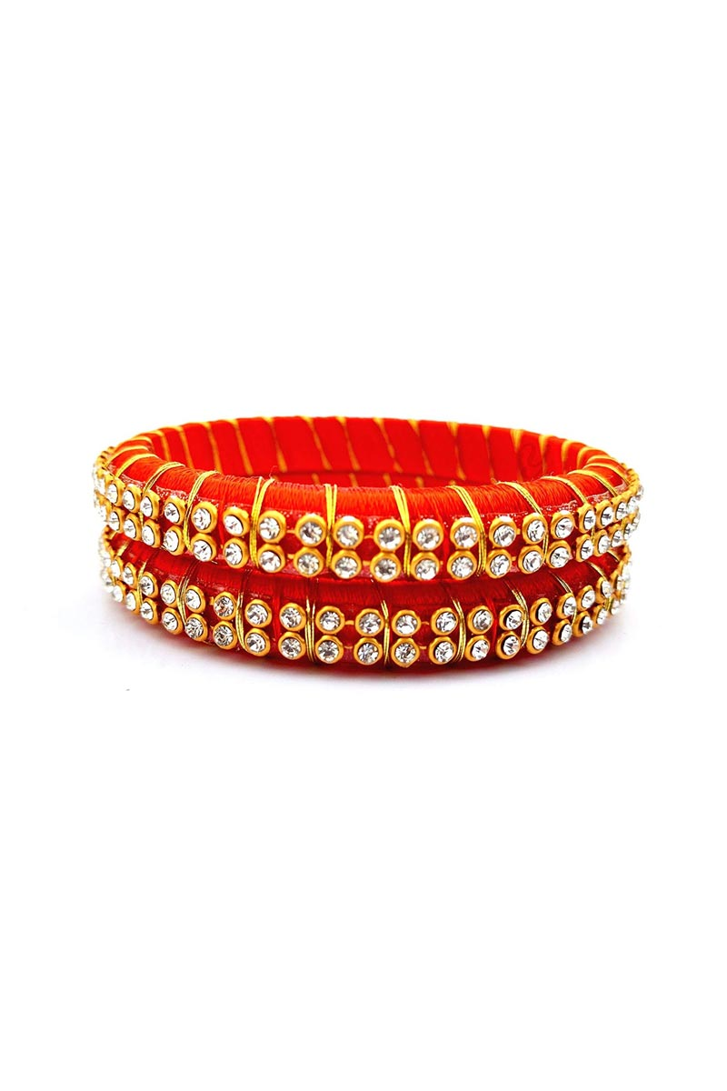 Red Color Customized Silk Thread Handmade Bangles Set
