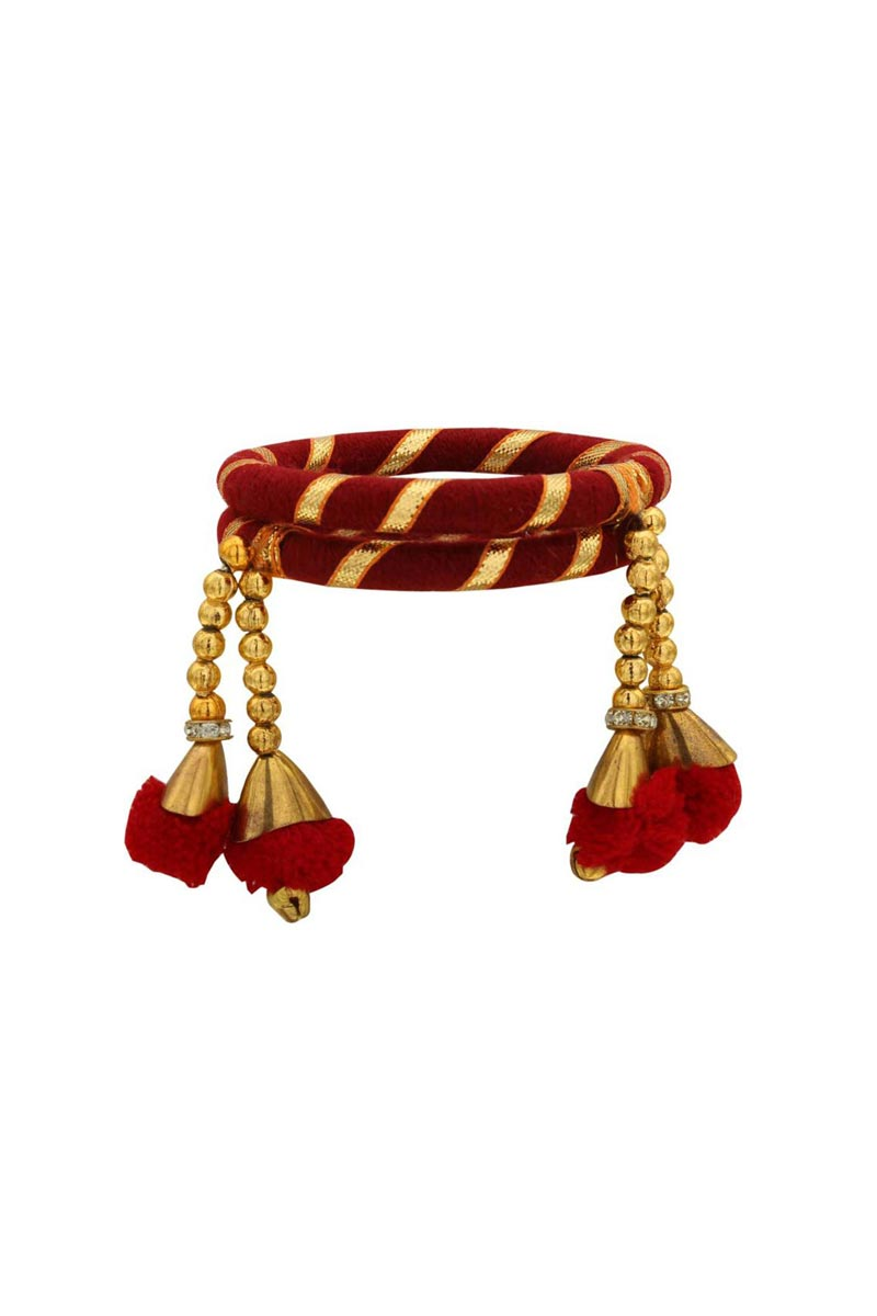Silk Thread Maroon Color Customized Handmade Bangles With Pom Pom Latkan