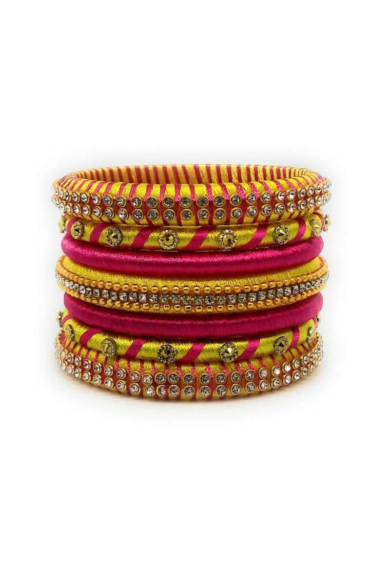 Pink And Yellow Color Silk Thread Customized Handmade Fancy Bangles Set