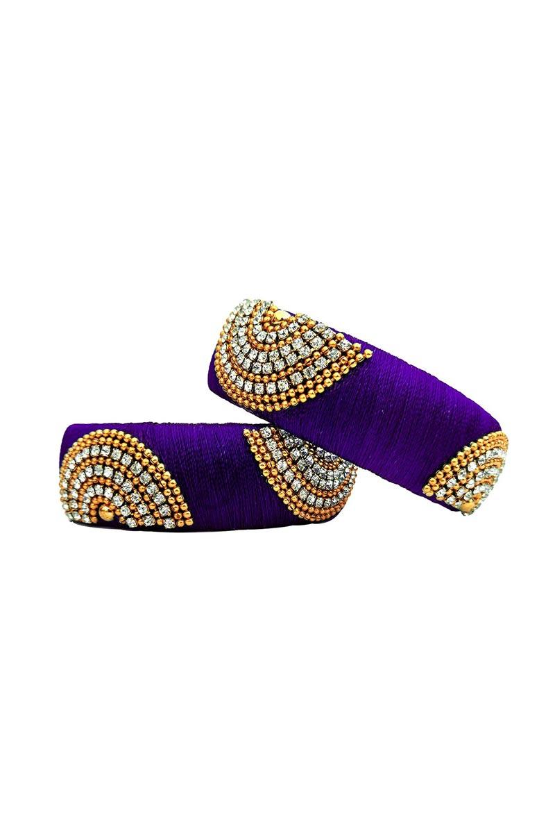 Customized Silk Thread Handmade Purple Color Patla Bangles