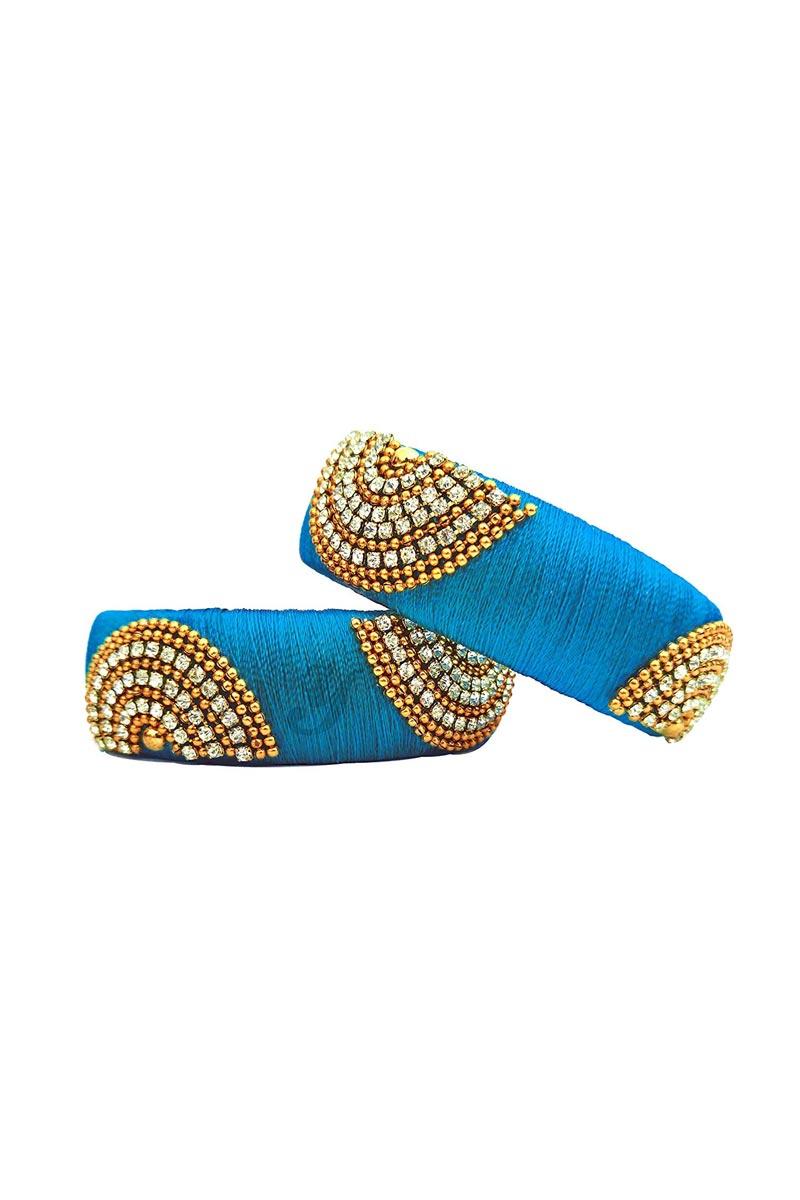 Customized Silk Thread Handmade Patla Bangles In Sky Blue