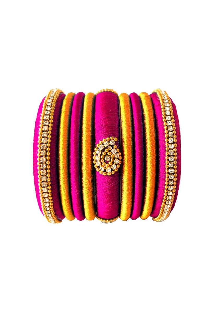 Designer Silk Thread Handmade Customized Rani And Yellow Color Bangles Set