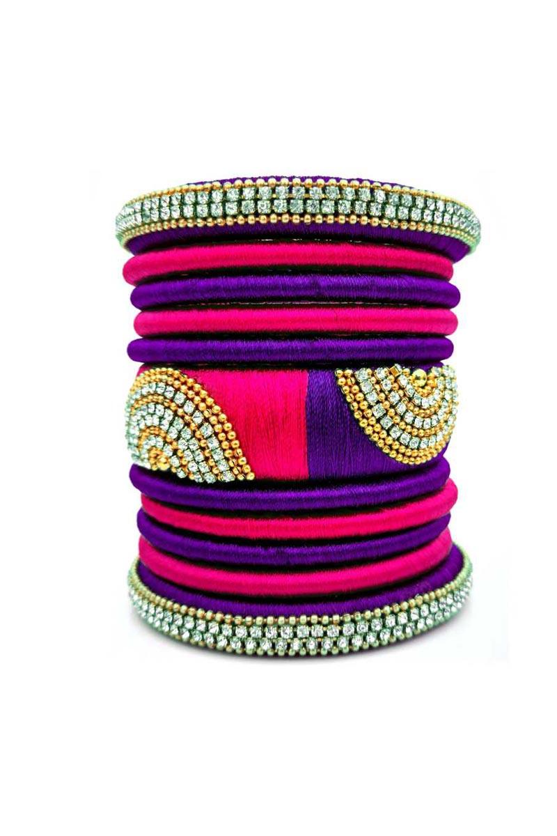 Silk Thread Customzied Handmade Fancy Bangles Set In Rani And Purple Color