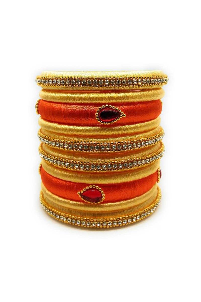 Handmade Fancy Silk Thread Customized Beige And Orange Color Bangles Set