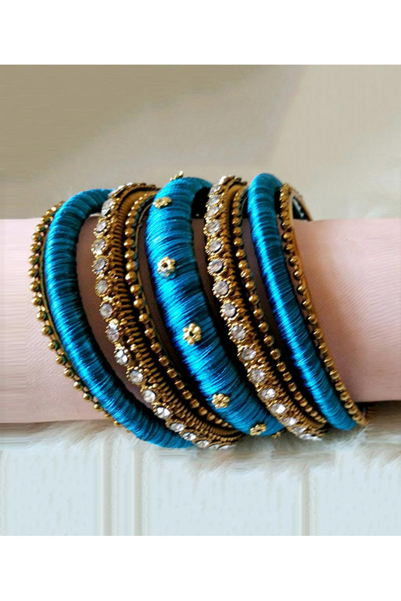 Handmade Fancy Silk Thread Customized Sky Blue Color Bangles Set