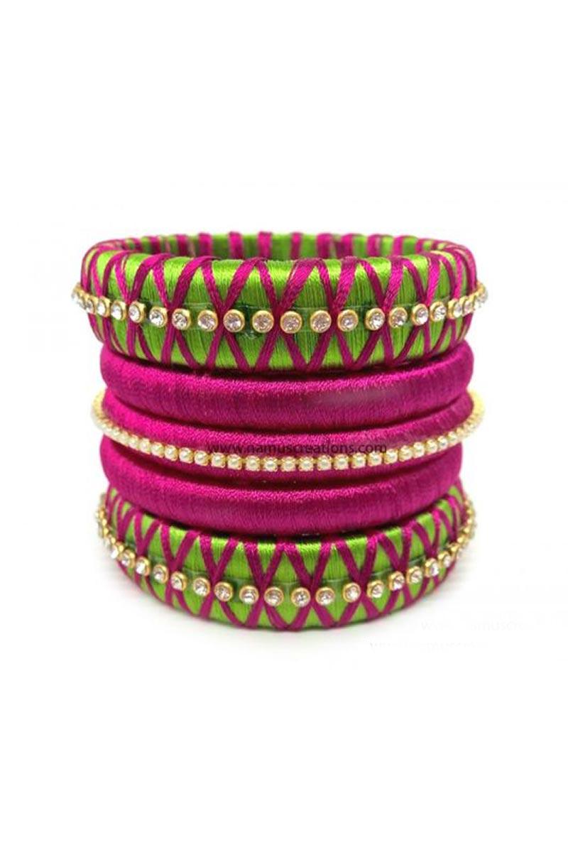 Green And Pink Silk Thread Customized Handmade Fancy Bangles Set