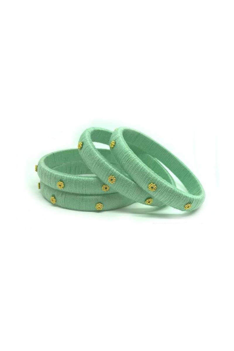 Sea Green Silk Thread Customized Handmade Fancy Bangles Set