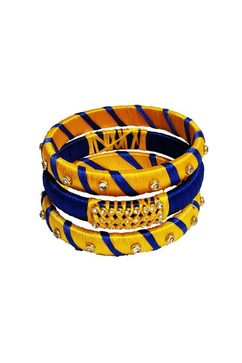 Silk Thread Blue And Yellow Color Customized Handmade Fancy Bangles Set