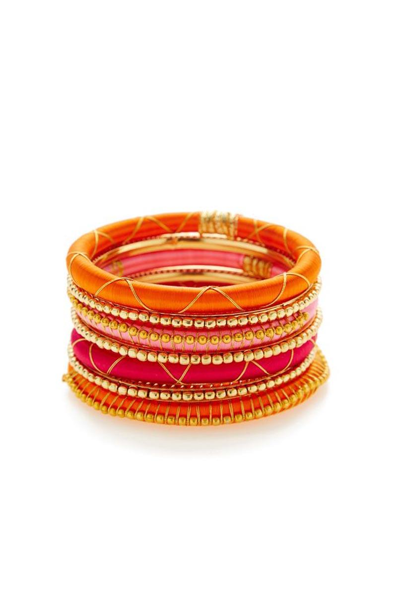 Customized Silk Thread Handmade Fancy Bangles Set In Multi Color
