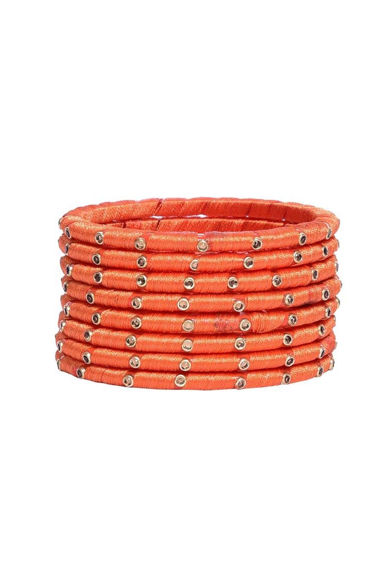 Customized Silk Thread Handmade Fancy Bangles Set In Peach Color