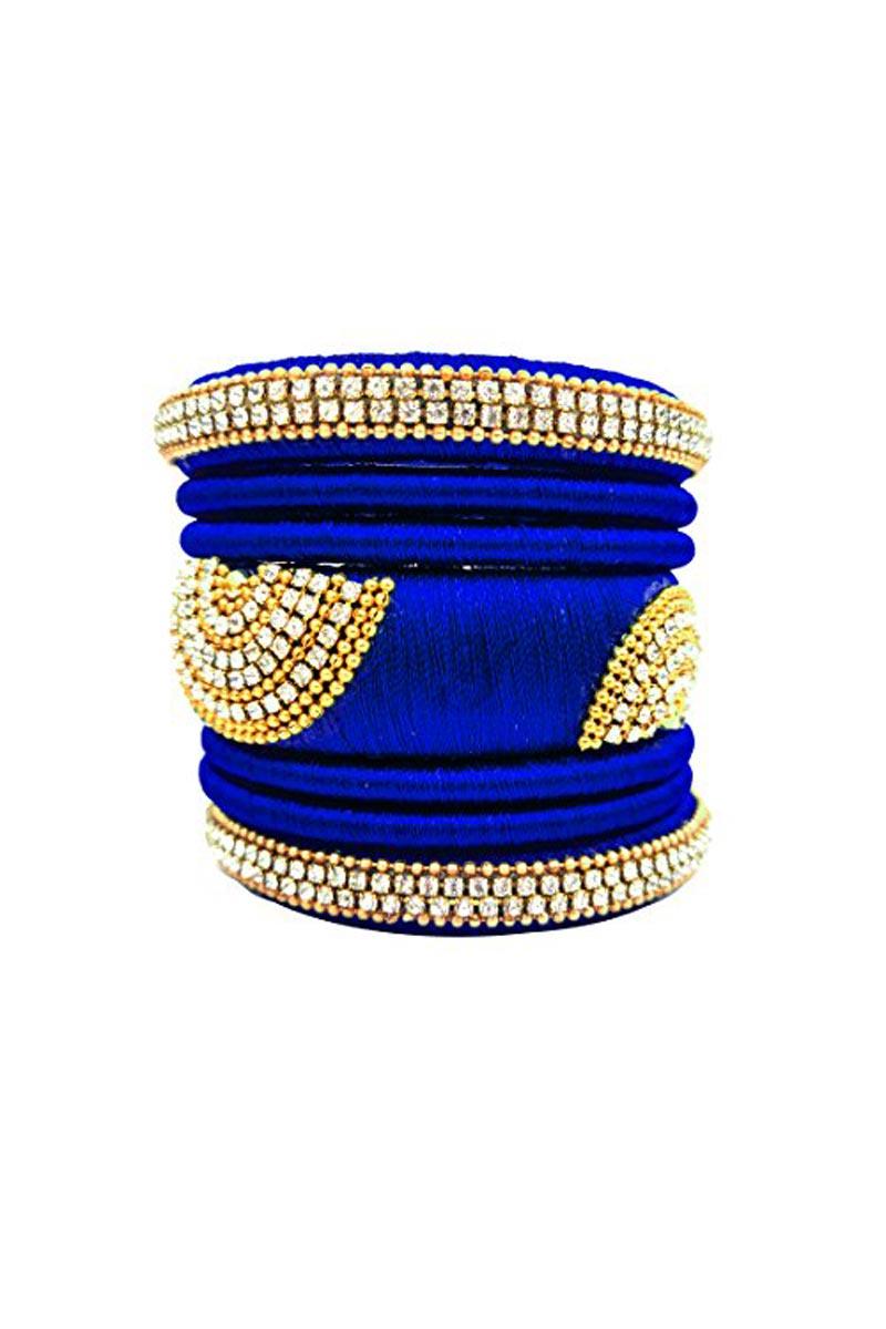 Silk Thread Work Fancy Navy Blue Customized Handmade Ethnic Bangles Set