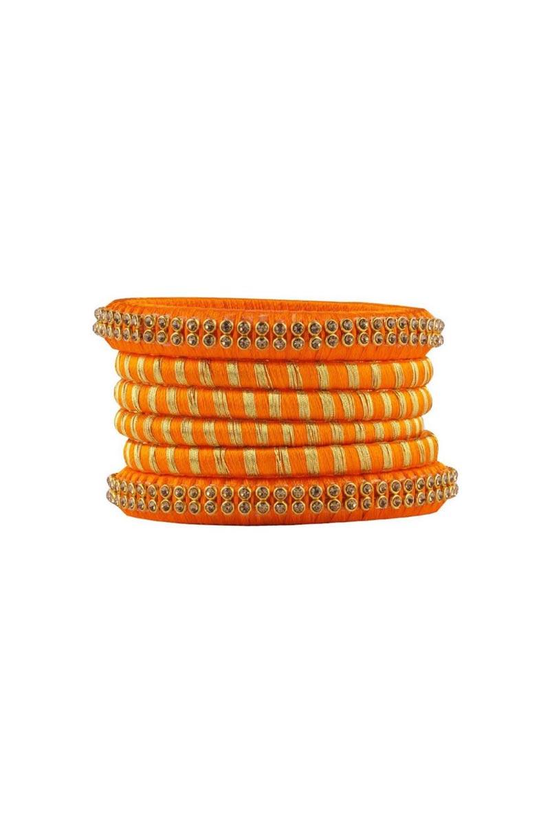Fancy Handmade Silk Thread Orange Color Customized Bangles Set
