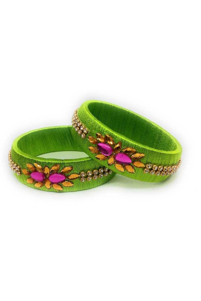 Fancy Green Color Handmade Silk Thread Customized Patla Set