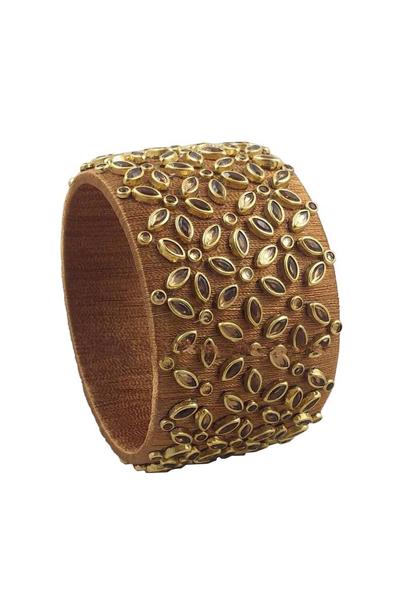 Brown Color Handmade Fancy Silk Thread Customized Kada
