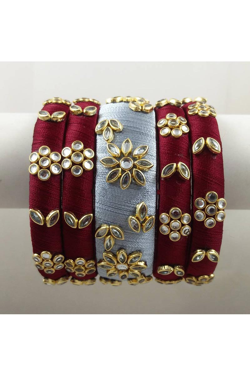 Handmade Fancy Silk Thread Customized Maroon Color Patla Bangles Set
