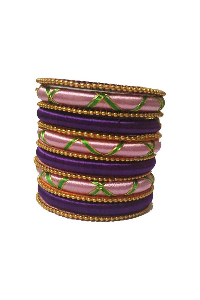 Pink And Purple Color Customized Silk Thread Ethnic Bangles Set