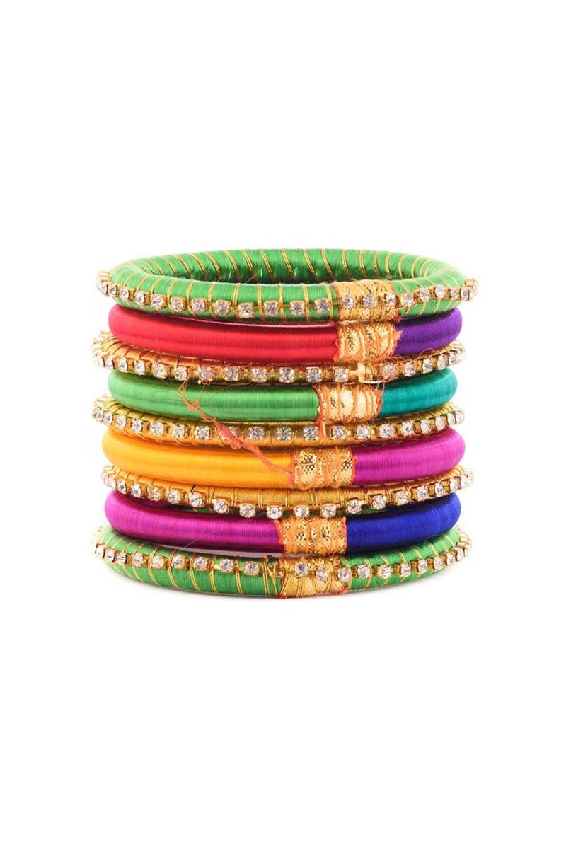 Designer Multi Color Handmade Silk Thread Ethnic Bangles Set