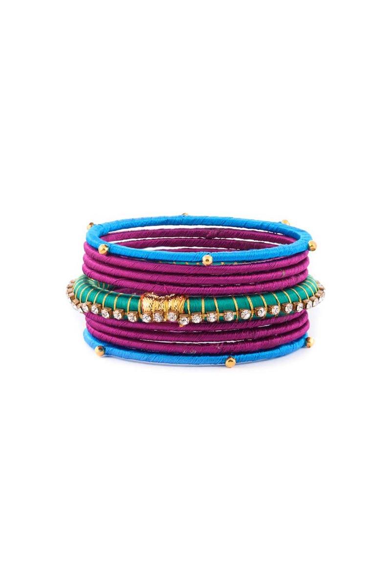 Multi Color Customized Silk Thread Ethnic Bangles Set