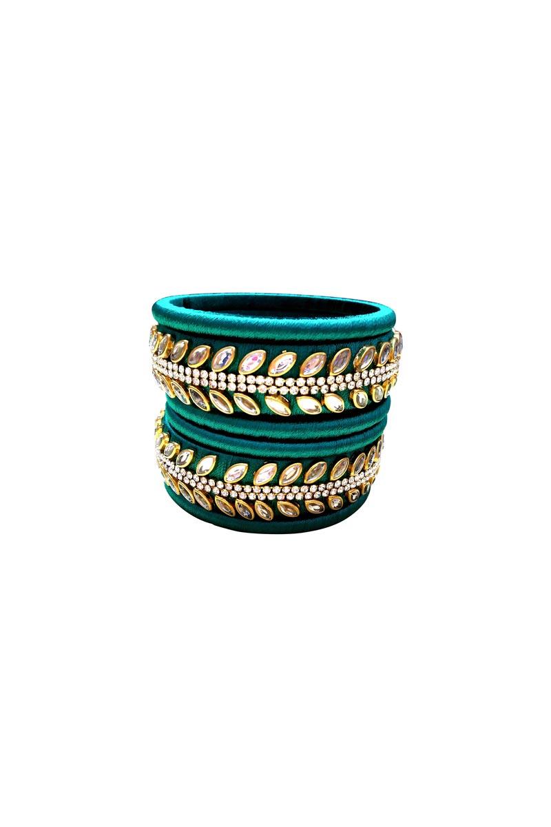 Designer Teal Handmade Silk Thread Fancy Bangles Set