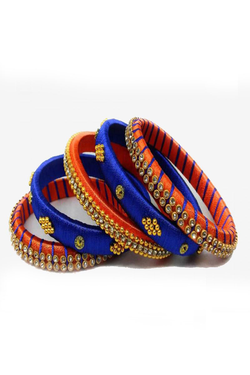 Silk Thread Work Fancy Customized Handmade Ethnic Bangles Set In Navy Blue And Orange