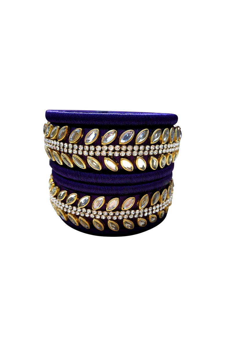 Designer Navy Blue Color Handmade Silk Thread Trendy Bangles Set