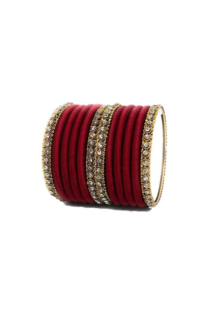 Maroon Customized Silk Thread Fancy Bangles Set