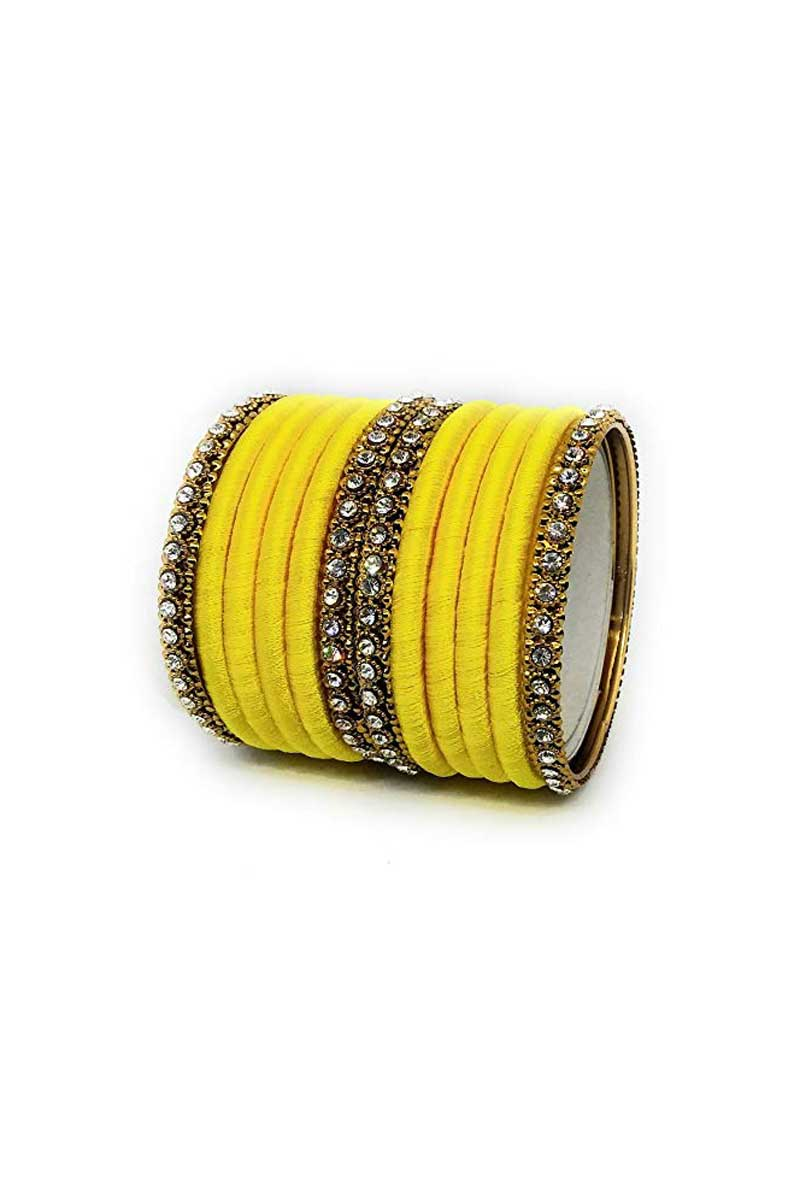 Yellow Color Customized Silk Thread Trendy Bangles Set