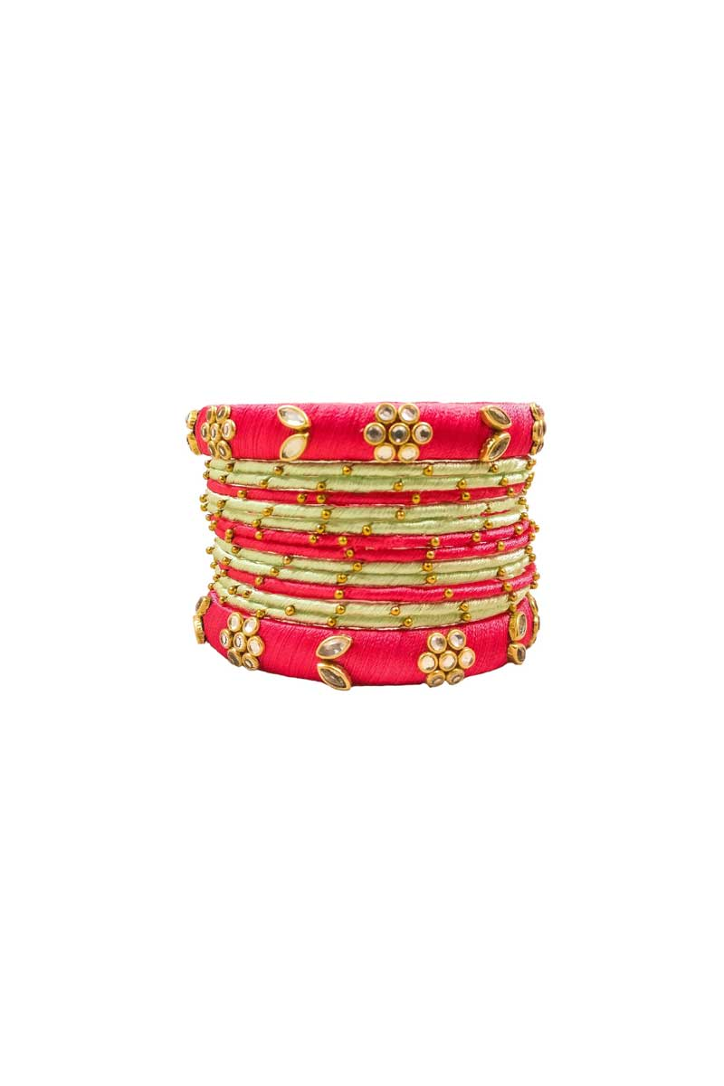 Customized Silk Thread Beige And Red Trendy Bangles Set