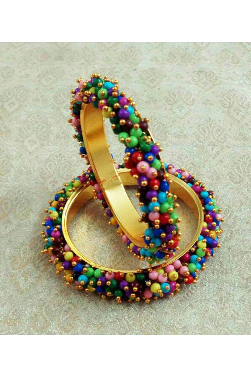 Fancy Pearl Beaded Multi Color Designer Bangle Set In Alloy Metal