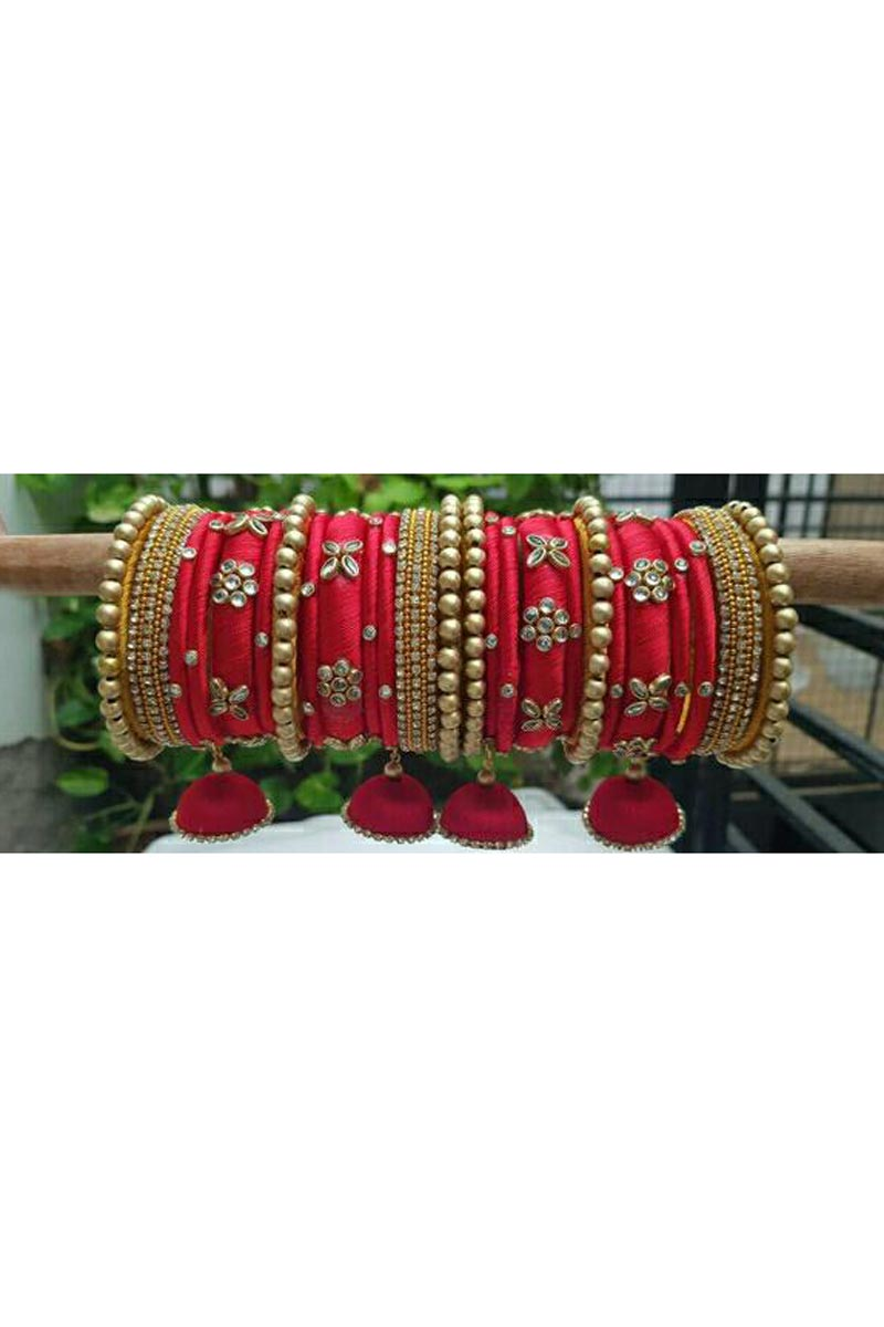 Red Color Customized Silk Thread Classy Bangles Set