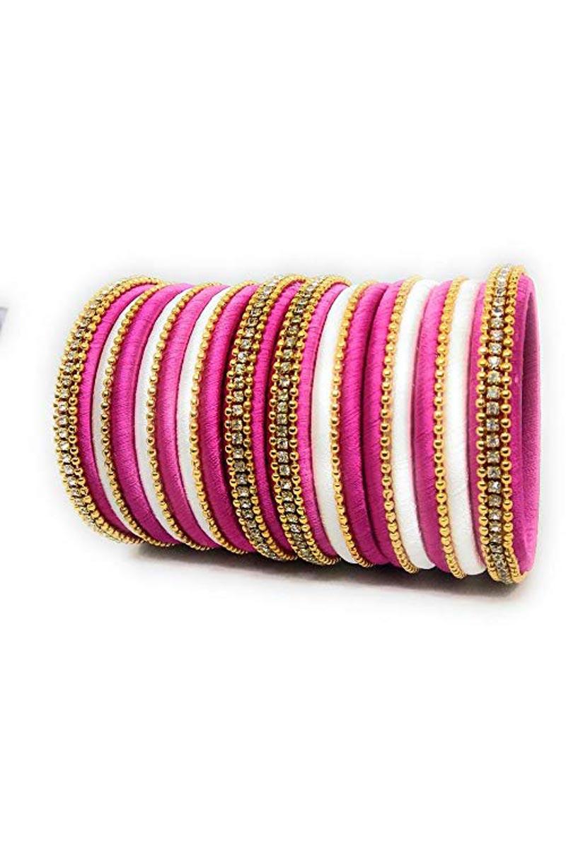 Off White And Rani Color Handmade Silk Thread Designer Bangles Set For Function