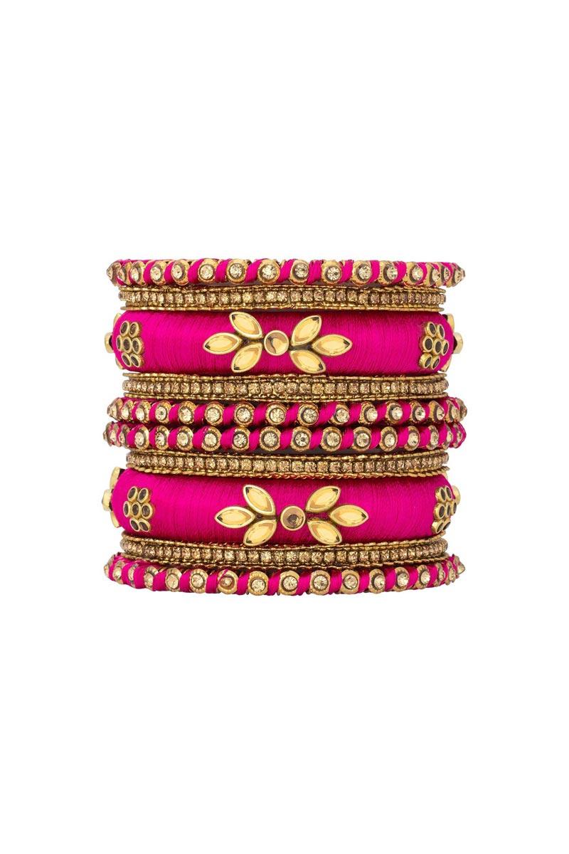 Rani Color Handmade Silk Thread Designer Bangle Set For Function