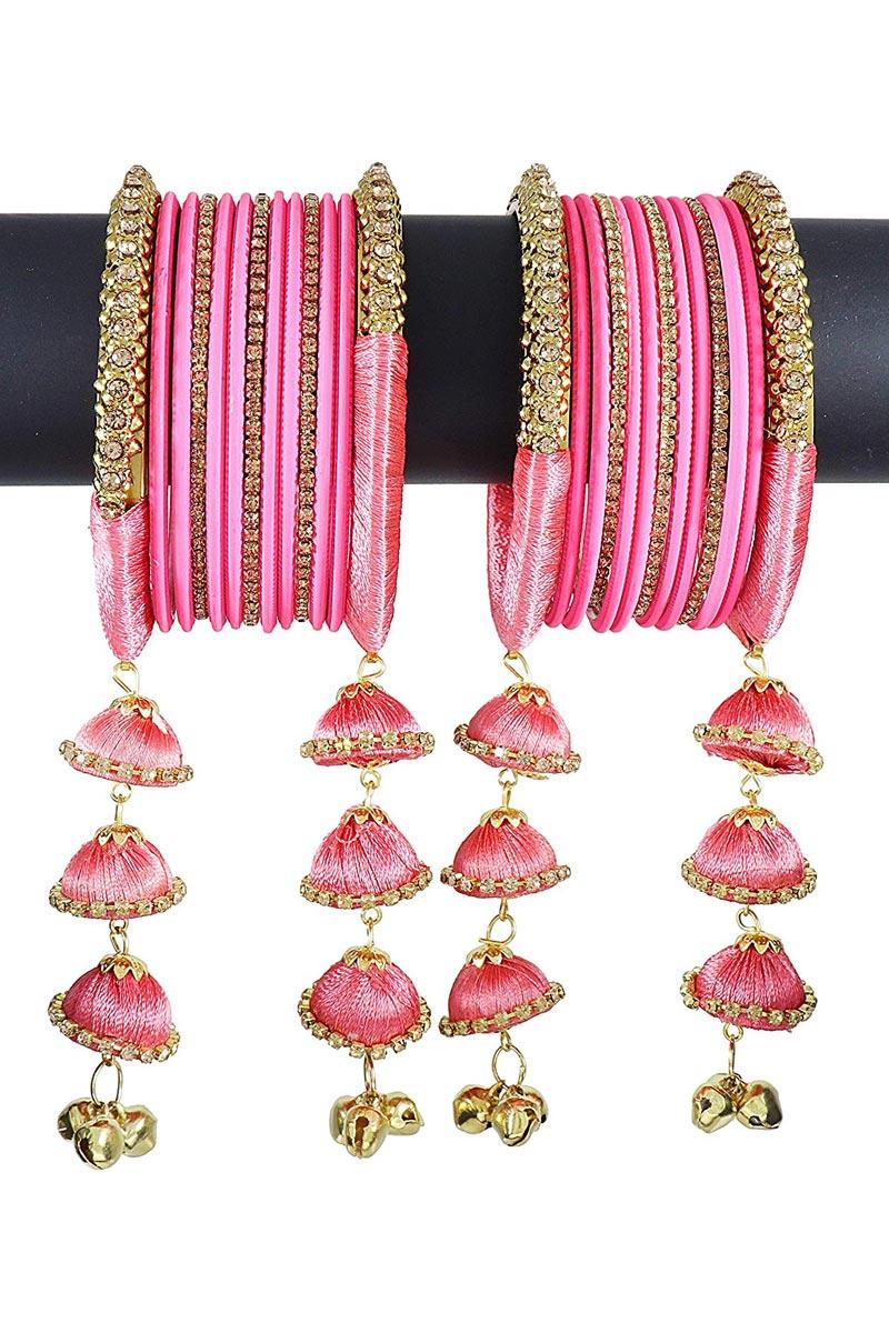 Fancy Handmade Silk Thread Pink Designer Bangles With Latkan