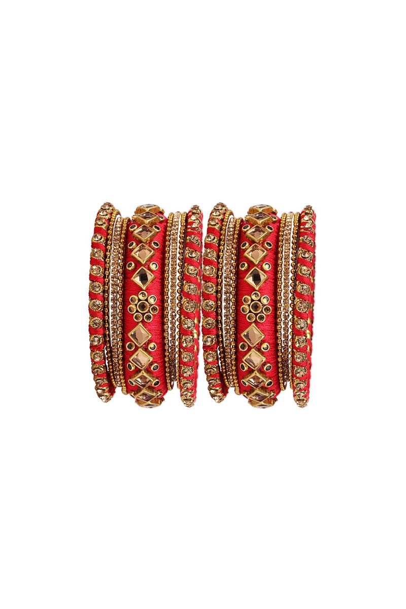 Red Handmade Silk Thread Designer Bangles Set For Wedding