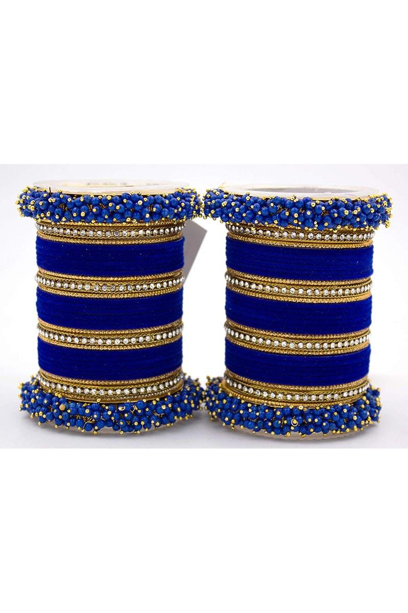 Blue Handmade Silk Thread And Pearl Beaded Designer Bangle Set For Function