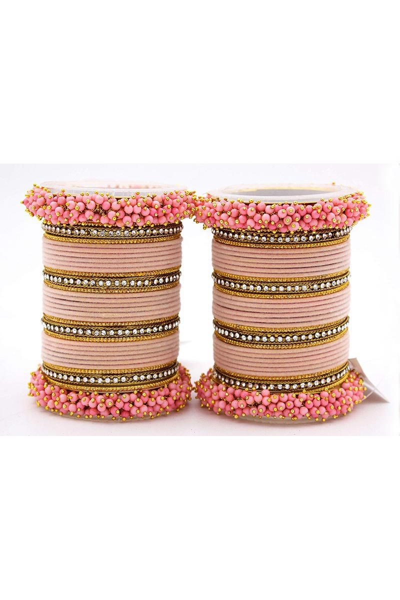Designer Silk Thread And Pearl Beaded Handmade Bangle Jewellery In Pink