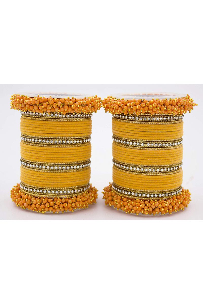 Mustard Handmade Silk Thread And Pearl Beaded Designer Bangle Set For Function