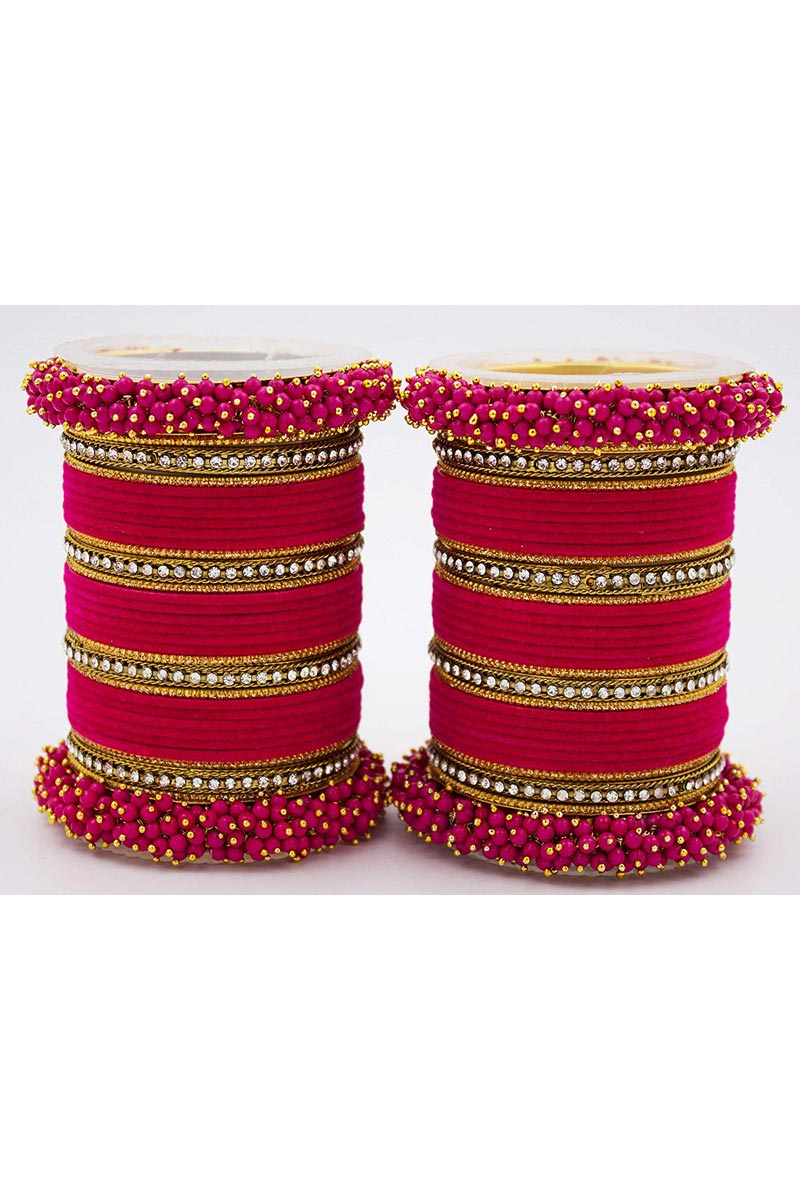 Designer Silk Thread And Pearl Beaded Handmade Bangle Jewellery In Dark Pink