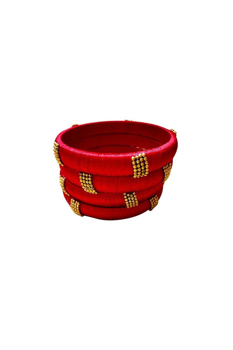 Designer Red Customized Silk Thread Classy Bangles Set